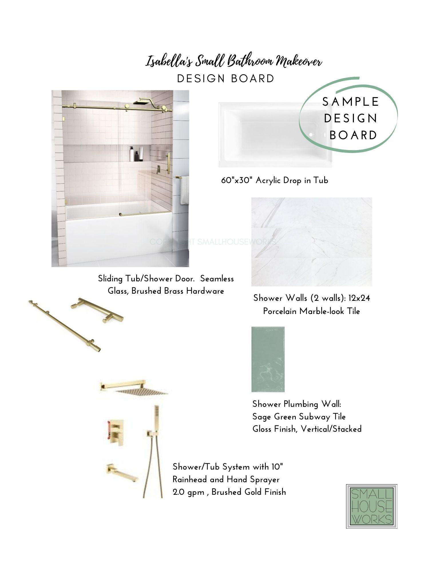 SAMPLE DESIGN BOARD- SMALL BATHROOM MAKEOVER