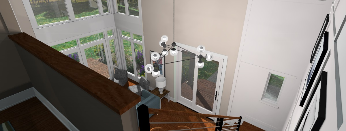 Looking down stairs from Master Suite Loft, 3D Rendering of The Modern Farmhouse