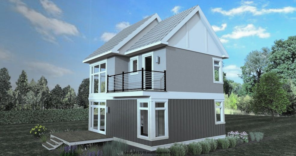 Rear/Side Elevation 2, 3D Rendering of The Modern Farmhouse Plan