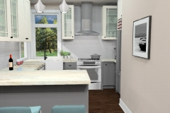 View of Kitchen from Living Room , 3D Rendering of The Modern Farmhouse Plan with Traditional Style Cabinetry & Finishes