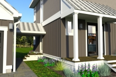 CLOSE UP VIEW- DESIGN 2- THE  MODERN FARMHOUSE PLAN