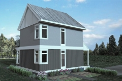 Rear/Side Elevation 1, 3D Rendering of The Modern Farmhouse Plan