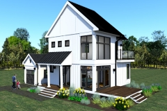 CORNER VIEW-DESIGN 3-THE MODERN FARMHOUSE PLAN