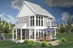 Front/Corner Elevation, 3D Rendering of The Modern Farmhouse Plan