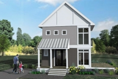 Front Elevation, 3D Rendering of The Modern Farmhouse  Plan