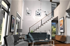 Living Room to Stair View, 3D Rendering of The Modern Farmhouse Plan