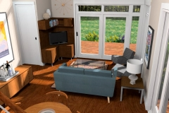 View of Living Room from staircase, 3D Rendering of The Modern Farmhouse