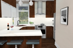 View of Kitchen from Living Room , 3D Rendering of The Modern Farmhouse Plan with Modern Style Cabinetry & Finishes