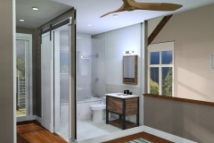 Master Suite Bathroom 3D Rendering with Wall Removed for viewing purposes- The Modern Farmhouse