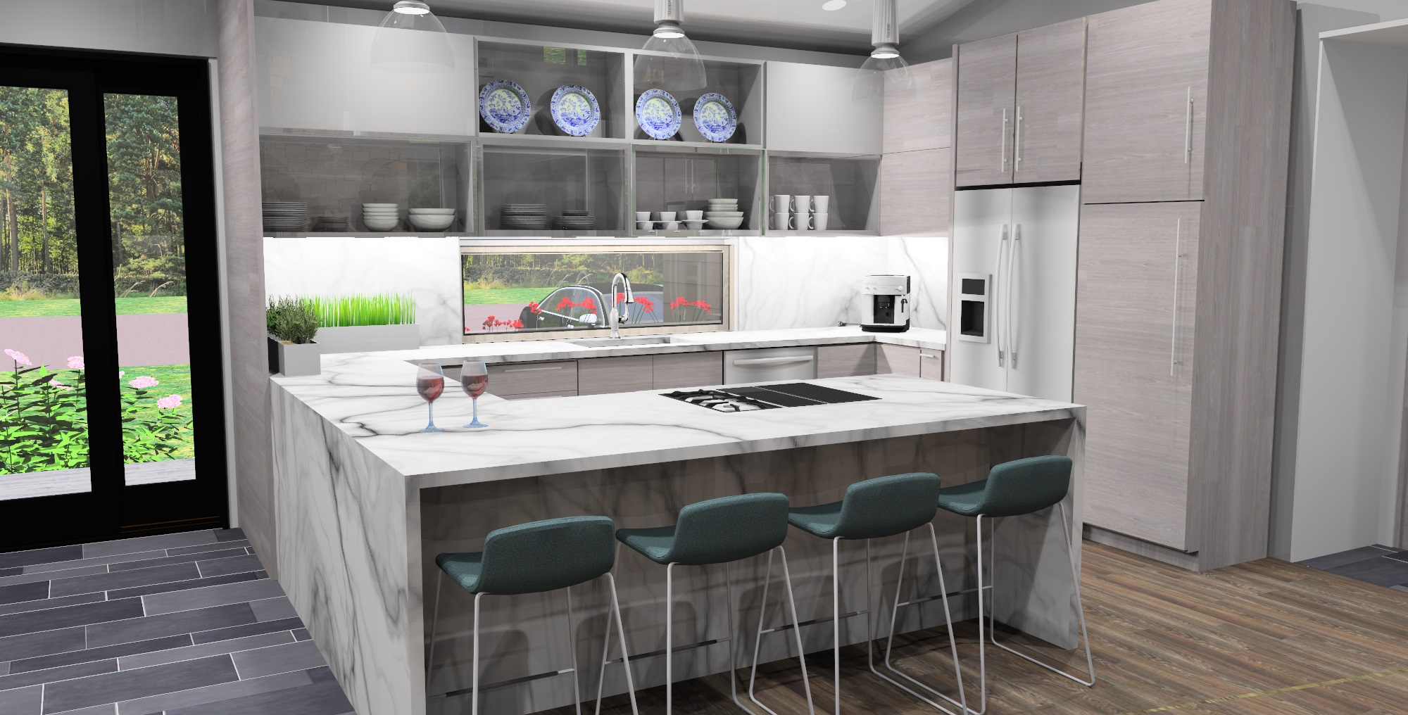 KITCHEN-VIEW-MID-CENTURY-RANCH-RENDERING