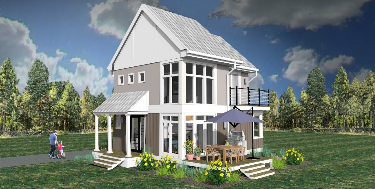 3d rendering of corner exterior view of The Modern Farmhouse