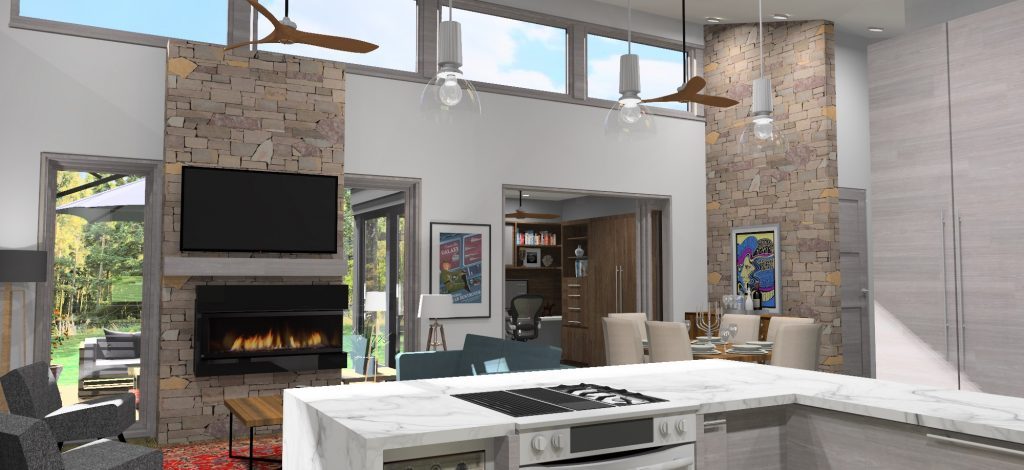 3d rendering of the interior space of the mid century modern loft. Rendering shows a view from the Kitchen looking towards the living room, dining room, office space