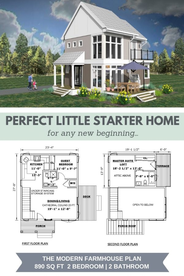 "Modern Farmhouse 3d Rendering with Floor Plans below. Text reads ""Perfect Little Starter Home for any new beginning"""