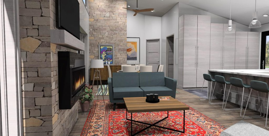 Interior Rendering of Living Room for Mid Century Ranch Gallery