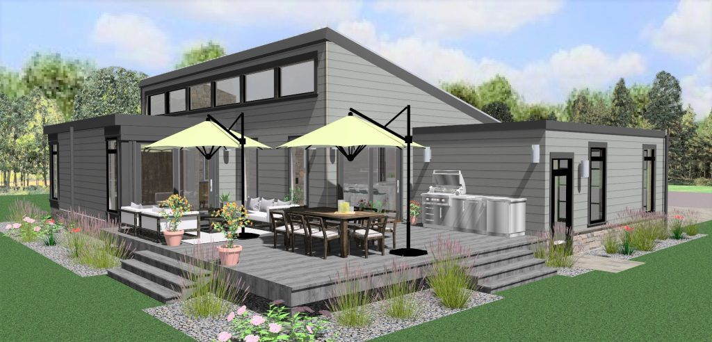mid century modern ranch exterior rendering of deck, rear view of house