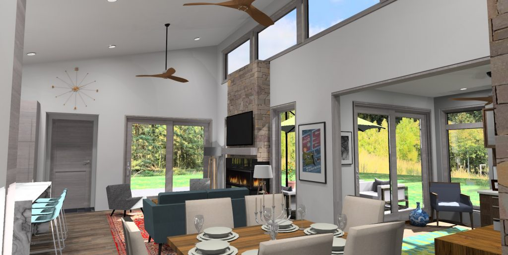 3d rendering of the Mid Century Modern Ranch. View from dining room to the living room and flex room with view of backyard