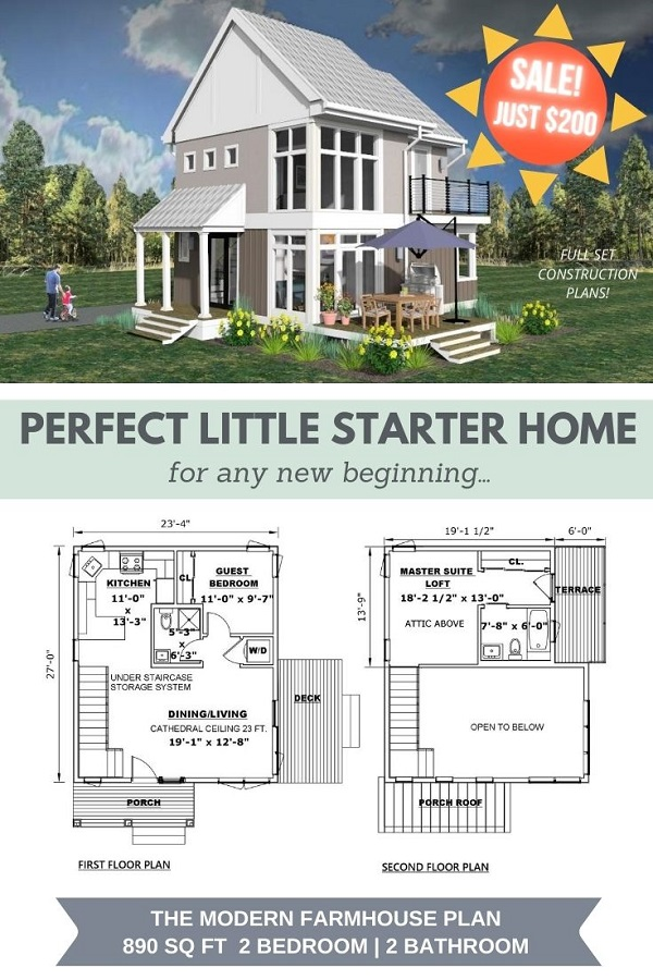"The Modern Farmhouse Flyer with Sale price $200. Text reads ""Perfect Little Starter Home for any new beginning"". Floor Plans image."