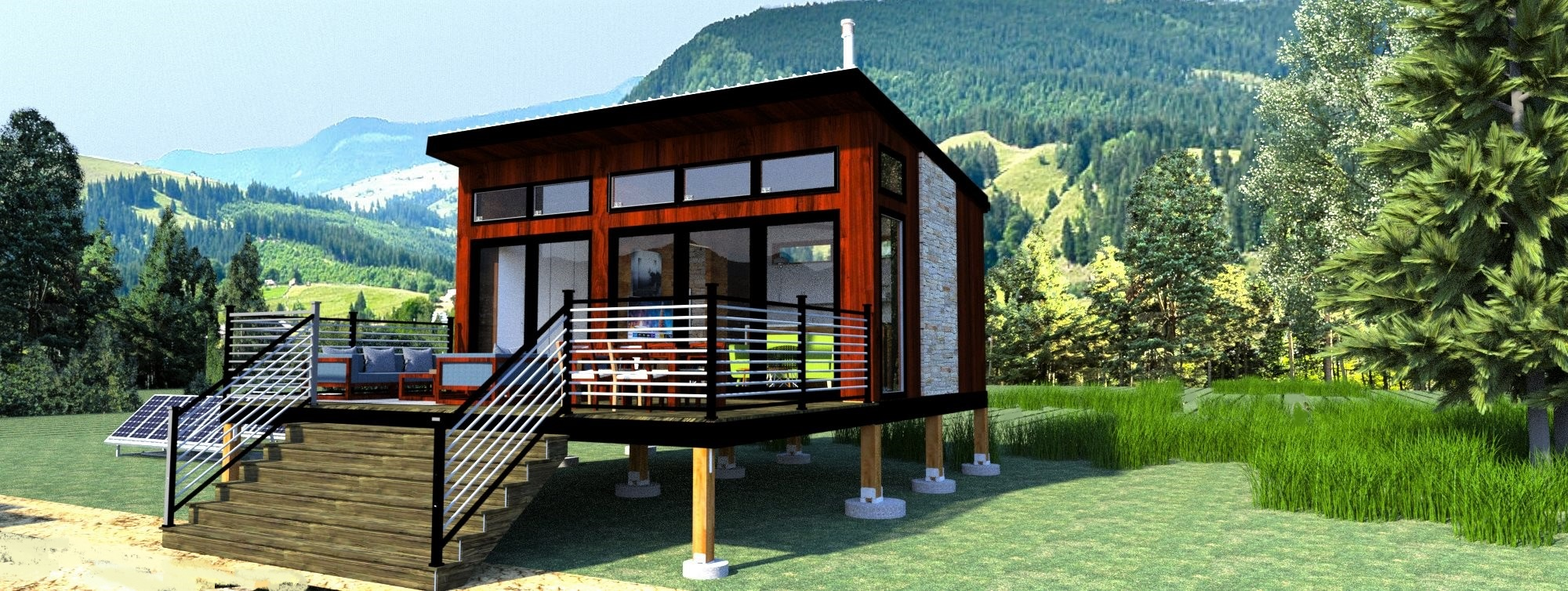 Rendering of the Off-Grid Modern Cabin. View from front showing the deck, front windows, and scenic mountain view behind the cabin in the distance.