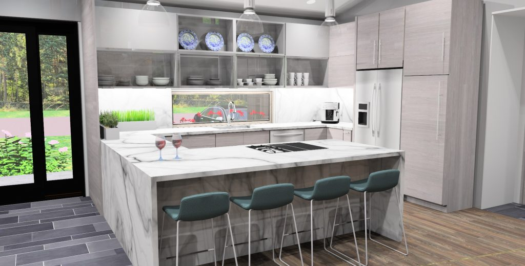The Mid Century Ranch 3d rendering showing the kitchen
