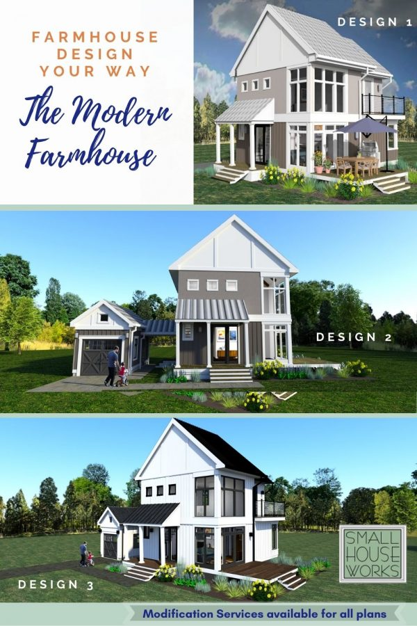 "Image showing 3 house designs with text ""Farmhouse Design Your Way. The Modern Farmhouse"". 3d renderings showing Design 1, Design 2, Design 2. Text at bottom reads ""Modification Services available for all plas"""