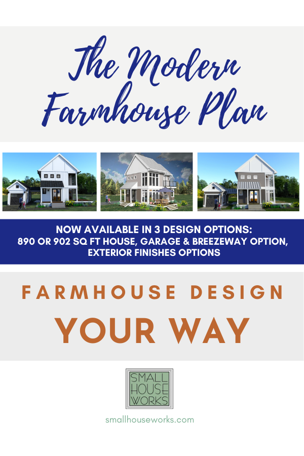 "Flyer for The Modern Farmhouse Plan. Text reads ""The Modern Farmhouse Plan, Farmhouse Design Your Way. Now Available in 3 Design Options: 890 or 902 SQ FT House, Garage & Breezeway Option, Exterior Finishes Options"" 3D rendering shown for all 3 design options."