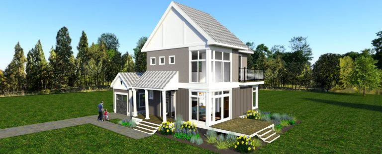 3d rendering of The Modern Farmhouse Plan Design #2