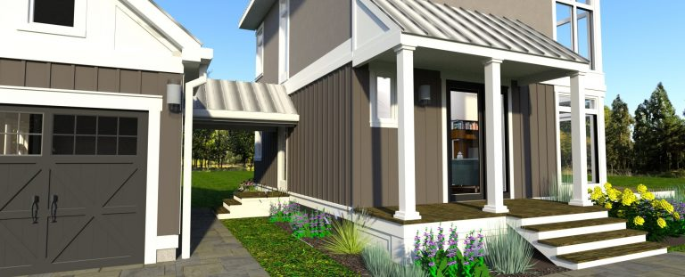 close up 3d rendering of Design 2 of The Modern Farmhouse Plan. shows a closeup of the breezeway, garage, and front door to house