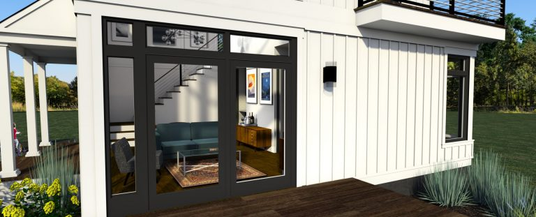 3d rendering of design 3 of the modern farmhouse plan- view showing the living room interior through the windows from the deck