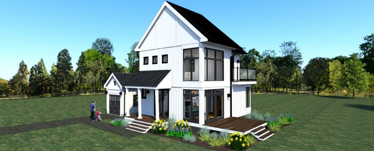 3d rendering of design 3 of the modern farmhouse- view of corner of house with high windows
