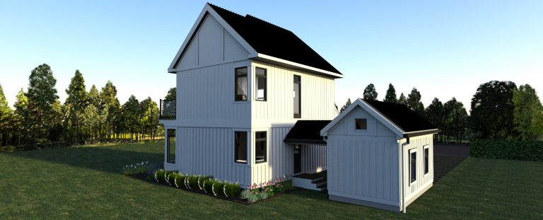 3d rendering of design 3 of the modern farmhouse- view of garage and breezeway rear