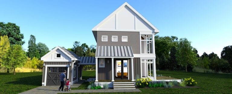 Front view of The Modern Farmhouse Design 2. 902 sq ft house with single car garage and breezeway