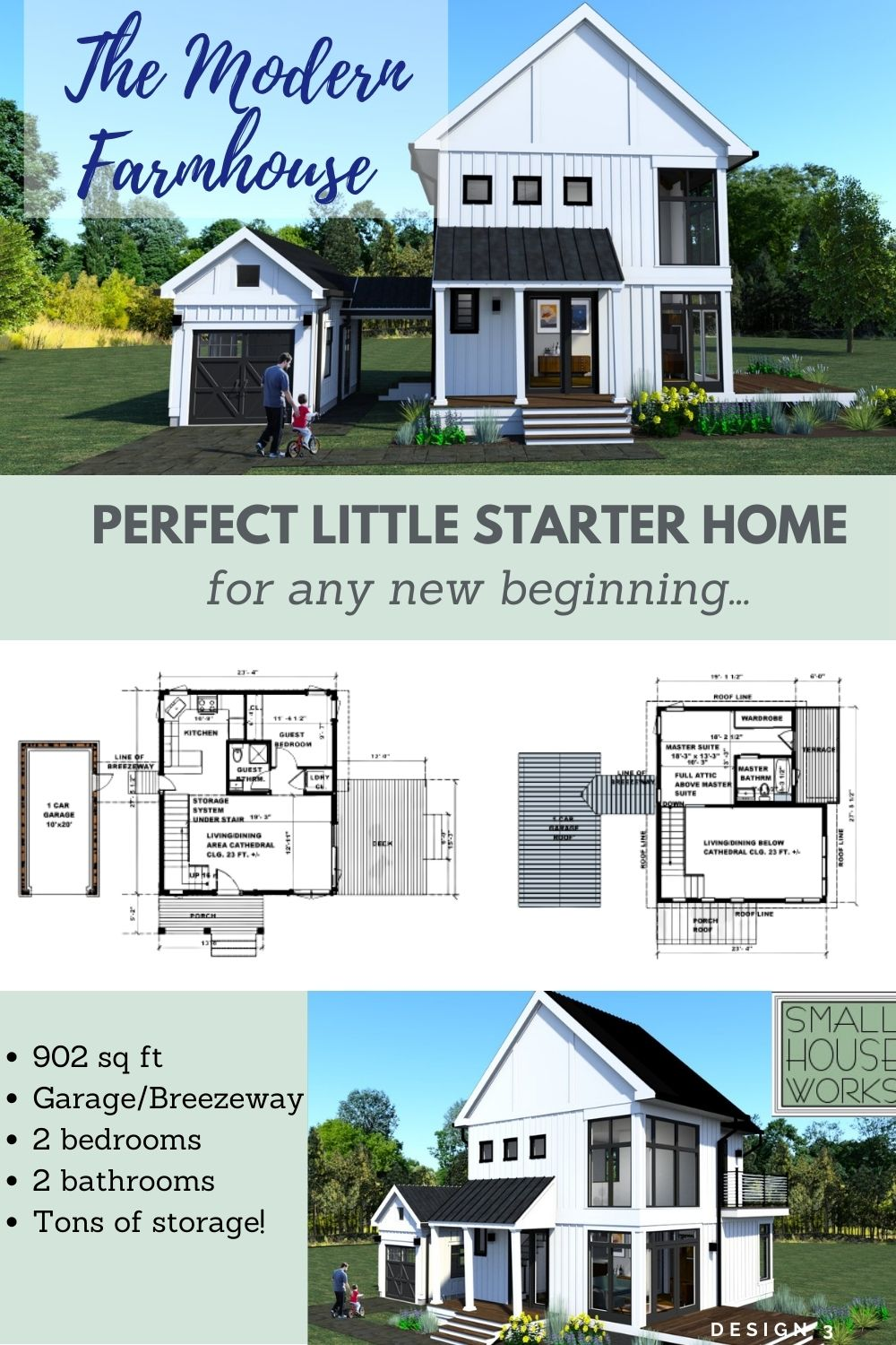 3d rendering of The Modern Farmhouse Design 3 with text: The Modern Farmhouse Perfect Little Starter Home for any new beginning...""