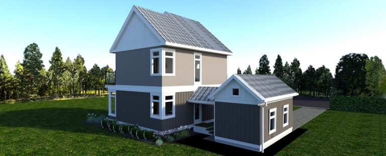 Rear view of The Modern Farmhouse Plan Design 2- 3d rendering. Shows back rear corner of the garage and house