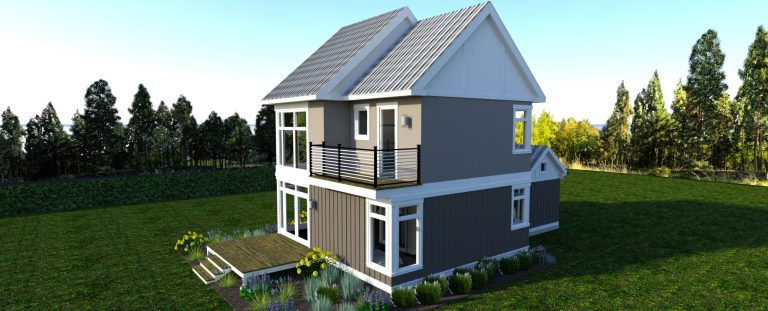 Rear corner view of The Modern Farmhouse Design 2 3d Rendering. Showing the side deck and 2nd floor Master Suite Terrace
