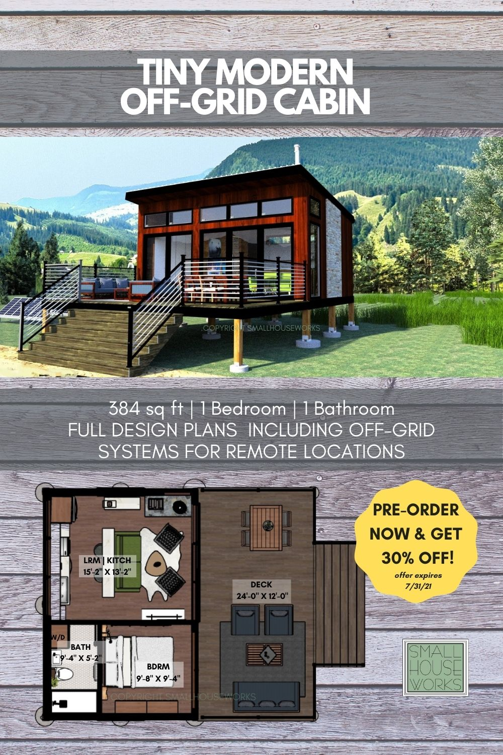 Image of Tiny Modern Off Grid Cabin Plan. Pre-order now and get 30% off- offer expires 7/31/21.